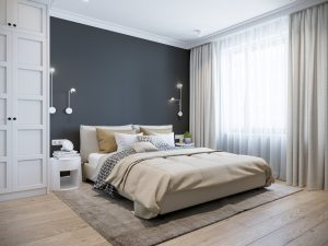 Urban,Contemporary,Modern,Scandinavian,Bedroom,Interior,Design.,Mock,Up,Gray